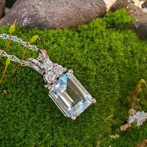 14KT White Gold Aquamarine & Diamond Pendant