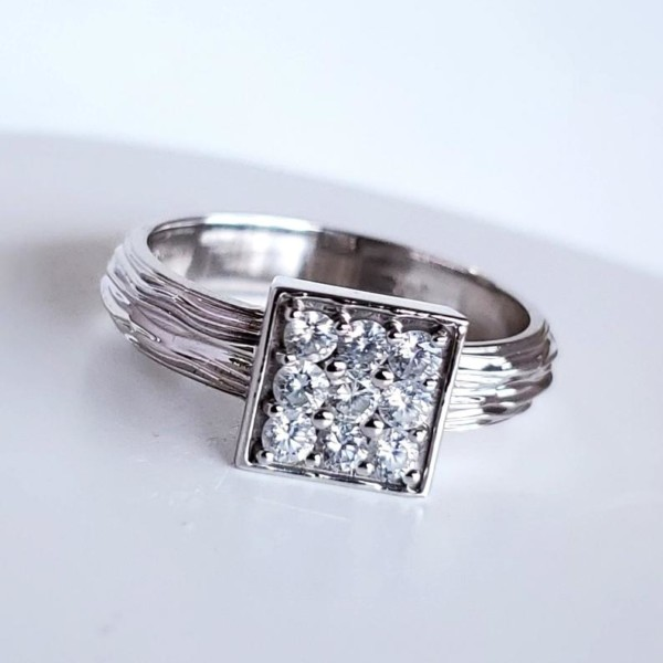 14KT White Gold Diamond Ring with Textured Band
