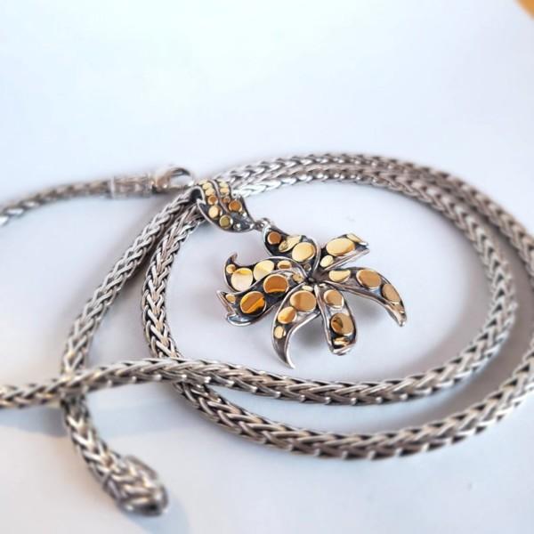John Hardy Jasmine Ayu Dot Flower Sterling Silver and 18k Gold Necklace