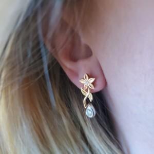 14KT Rose, White & Green Gold Diamond Dangle Flower Earrings