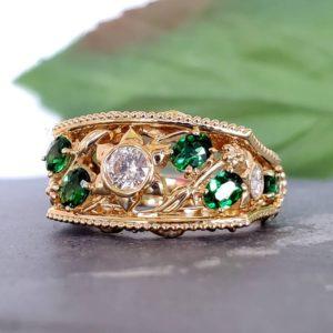 14k Yellow Gold Tsavorite & Diamond Statement Ring