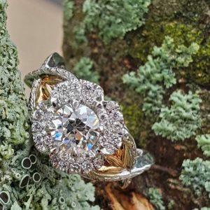 Vintage Inspited Hand Engraved European Cut Diamond Flower Ring
